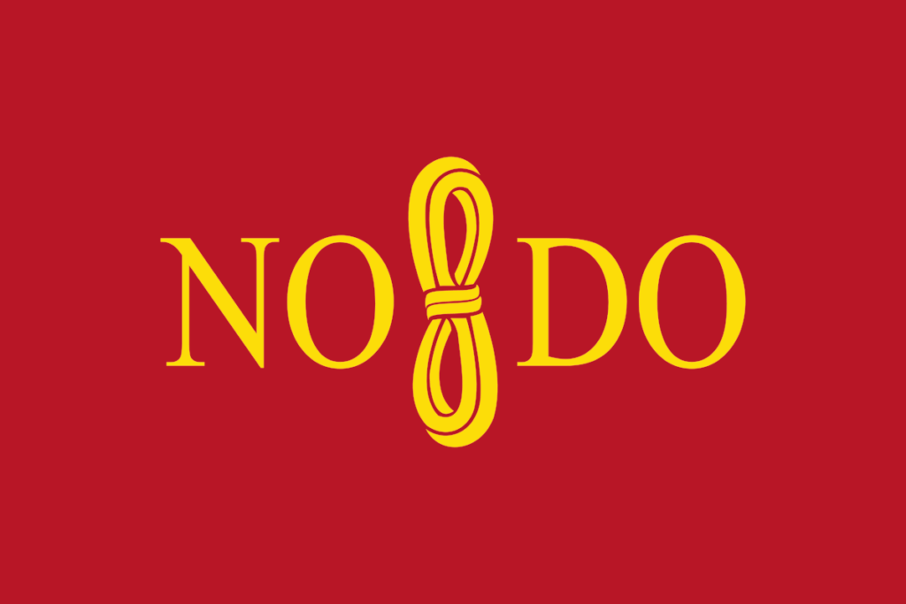 An image of the design of the NO8DO emblem with its yellow font in front of a red background